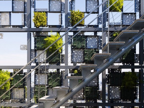 Plants Sprout Through Perforated Aluminum Facade In Japan