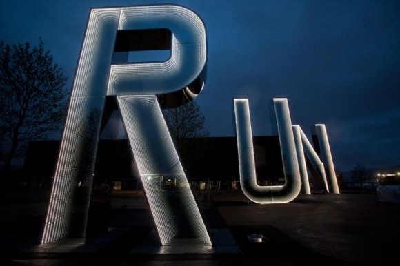 Stainless Steel and Glass Letters Enhance Olympic Park