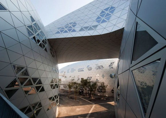 Anodized Aluminum Triangles Enhance Blob Architecture