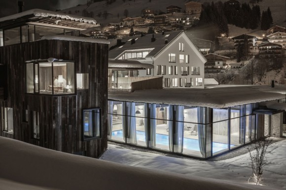 Whimsical Austrian Hotel Blends Into Snowy Landscape