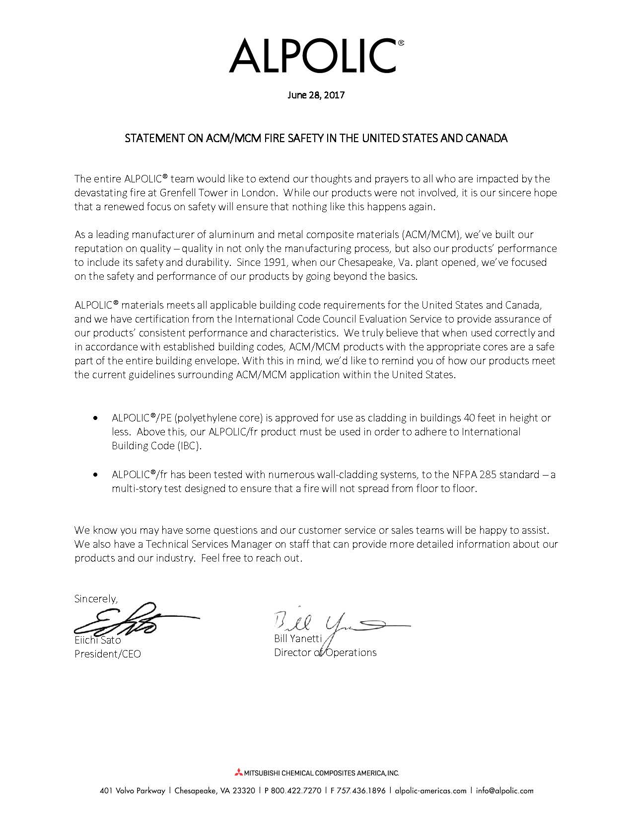 Statement on ACM/MCM Fire Safety in the United States and Canada